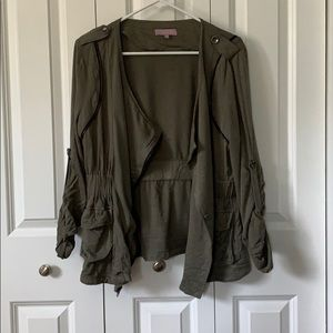 Francesca's Army Green Asymmetrical Zip Jacket - M